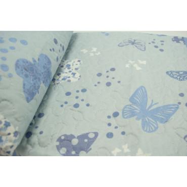 Couette couvre-lit Matelassé Double Papillons Céleste Pur Coton 260x260 - Boutis rembourrage pour améliorer l'Été