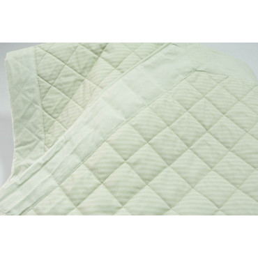Quilted bedspread Double Light Green Stripes Percale Cotton 270x270 - channeled and quilted 2 Squares