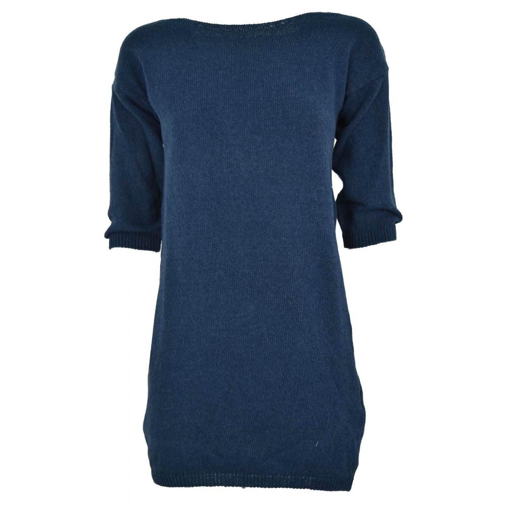 Kleid Gestrickt aus Baumwolle, Blau mit durchbrochener stickerei auf dem  rücken