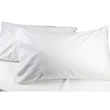 Paire de Taies d'oreiller Blanc en Percale de 52x82 3 volants en coton, doux et compact