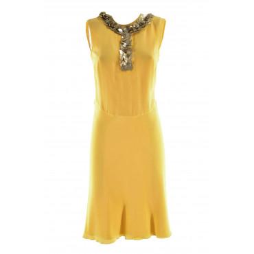 Elegant Yellow Sheath Dress...