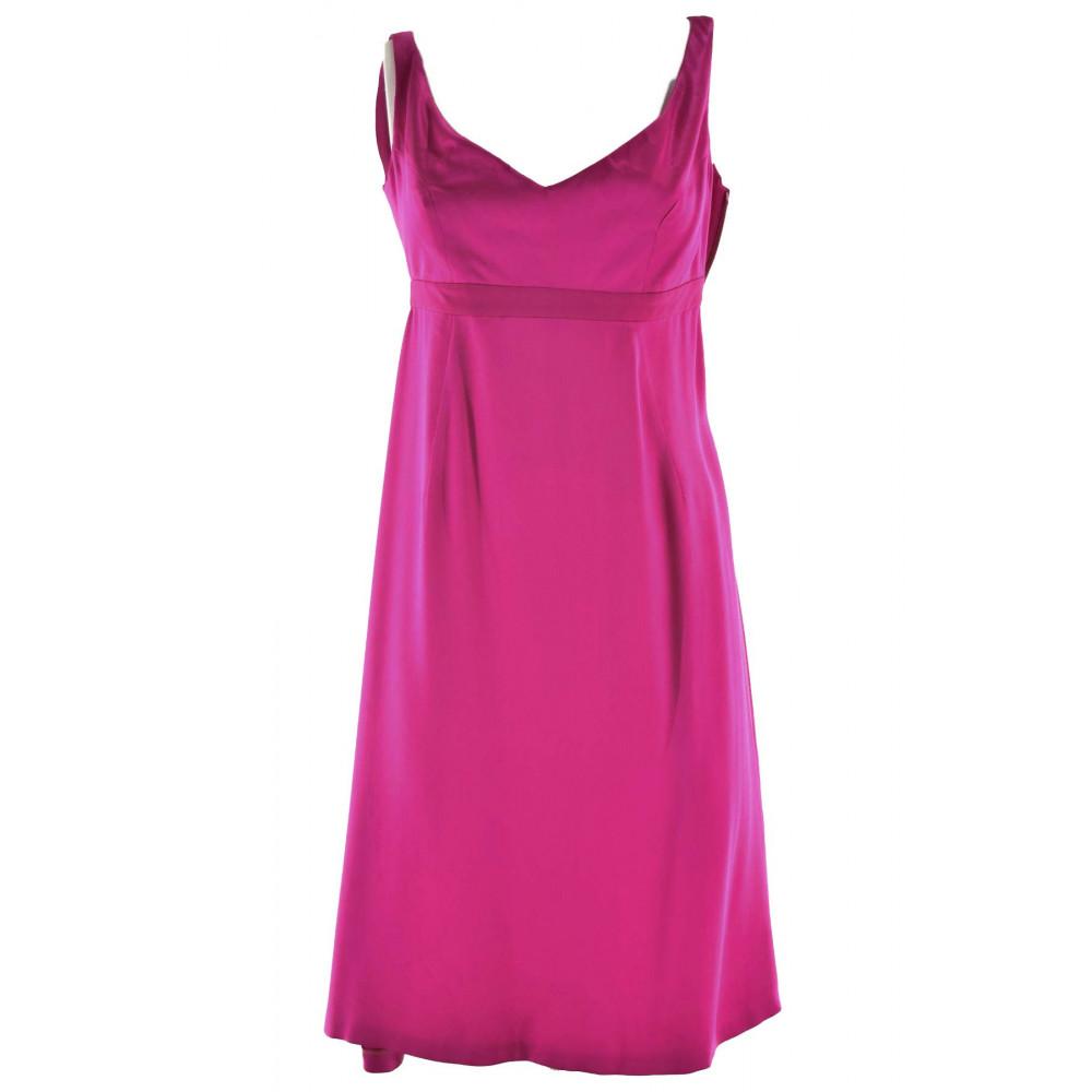 Damen kleid Fuchsia Kleid Elegantes Satin-Seide größe 18