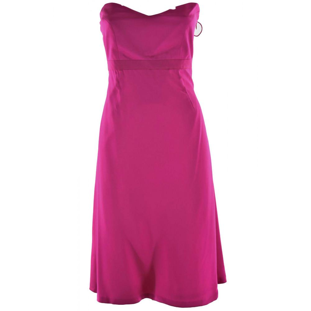 Damen kleid Fuchsia Kleid Elegantes Satin-Seide