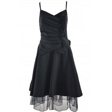 Elegant Woman Black Taffeta...