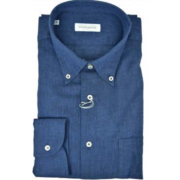 El hombre de la camisa de Lino mezcla Botón hacia Abajo de collar - Philo Vance - Cuba