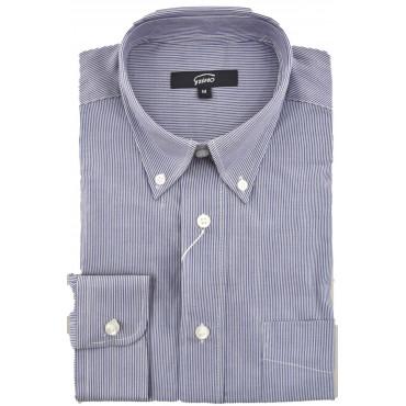 Camicia Uomo Classica Button Down Popeline Righe Blu Bianco - Grino