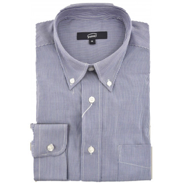 Man Shirt Classic Button Down Poplin Stripes Blue-White - Grino
