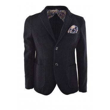 Men's Slimfit Jacket in Blue Boiled Wool Cloth with handkerchief - Radical Chic
