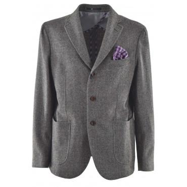 Chaqueta de hombre Classic Wool Herringbone Beige con pañuelo