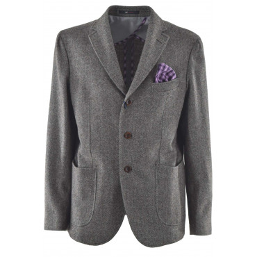 Men's Classic Wool Herringbone Beige Jacket with handkerchief