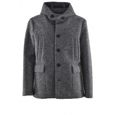 Men's Parka Jacket Gray Wool Cloth