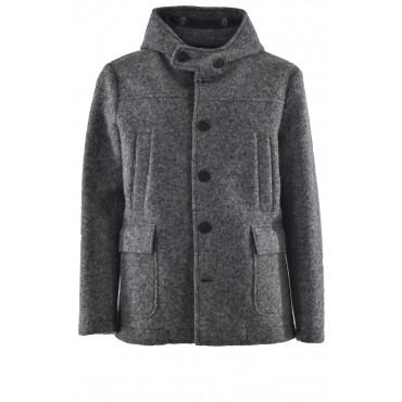 Parka para hombre en paño de lana gris