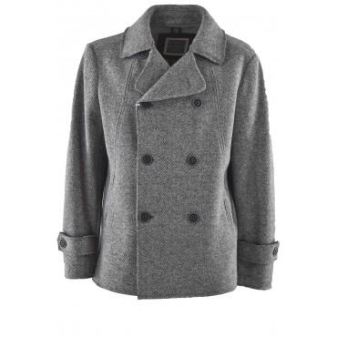 Chaqueta de hombre cruzada en paño de lana gris