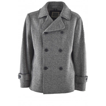 Double-Breasted Man Jacket in Gray Wool Cloth
