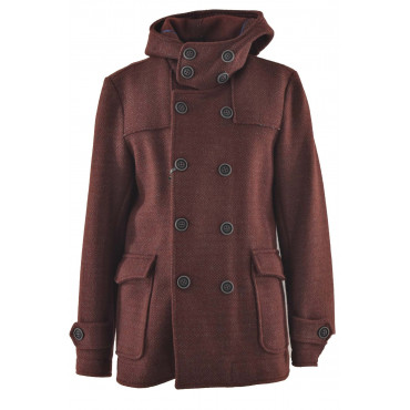 Double-breasted man jacket with hood in Bordeaux Wool Cloth
