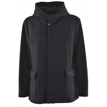 Man's jacket with hood in Blue Wool Cloth