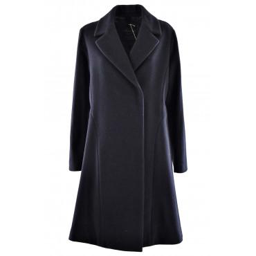 Lange mantel Damen-48 XL-Tuch aus Wolle in dunkelblau - Montereggi