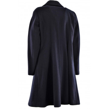 Cappotto Lungo Donna 48 XL Panno Lana Blu Scuro - Montereggi