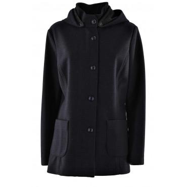 Jacket Woman in wool, Wool with hood Dark Blue