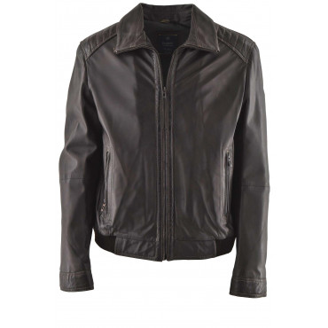Men's Dark Brown Leather Biker Jacket