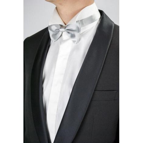Man shirt Tuxedo Neck Swallow Tail Cuff Cufflinks Poplin White - Lawrence menswear