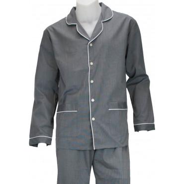Pyjama Homme Classique Ouvert sur le Devant en Tissu de Coton et Flanelle - Grino