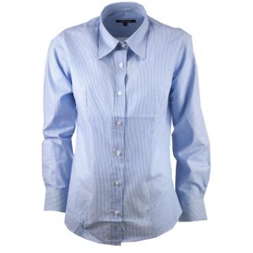 Femmes chemise Classique Entrelacement Bleu sur Blanc en Popeline de Coton - fit vissé
