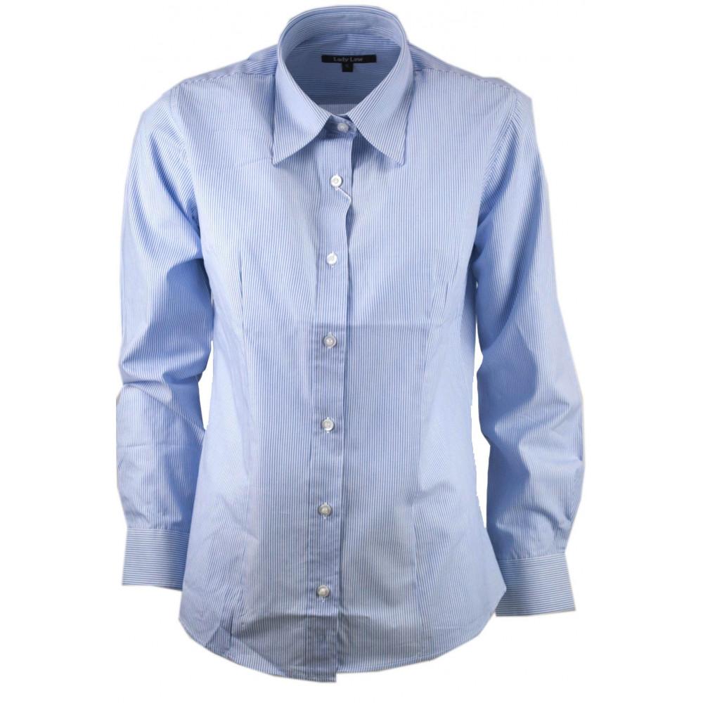 Women's shirt Classic Striping Blue on White Cotton Poplin - fit screwed