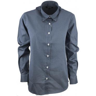 Camicia Donna Classica Pois Blu su Bianco Cotone Popeline