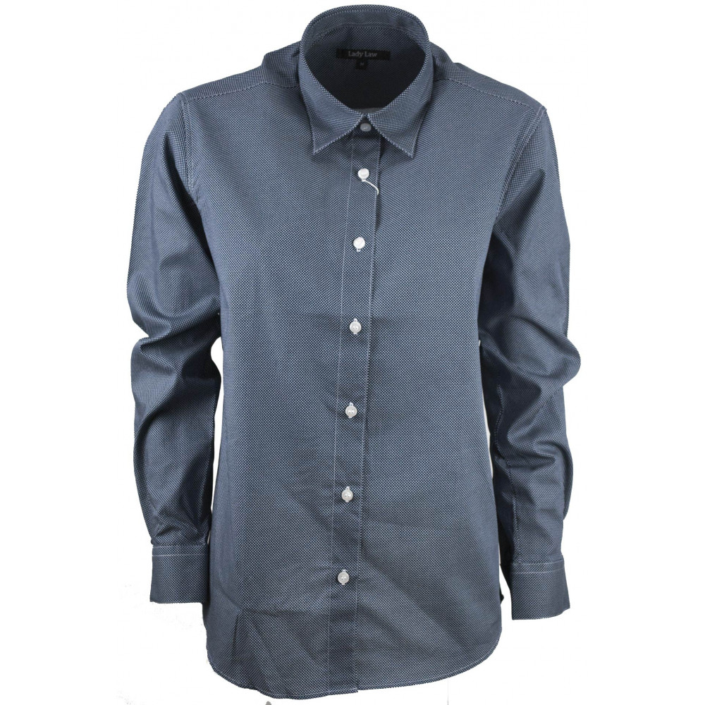 Women's shirt Classic polka dot Blue White Cotton Poplin