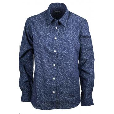 Femmes t-Shirt Classique à Fleurs Bleu Foncé