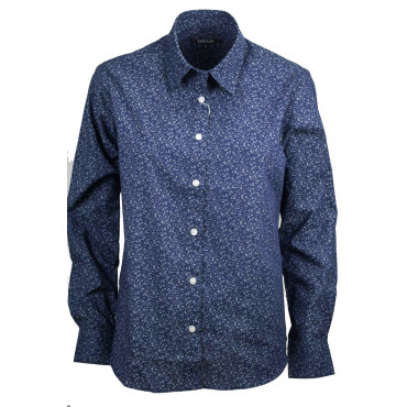 Women's Shirt Classic Flowers Dark Blue