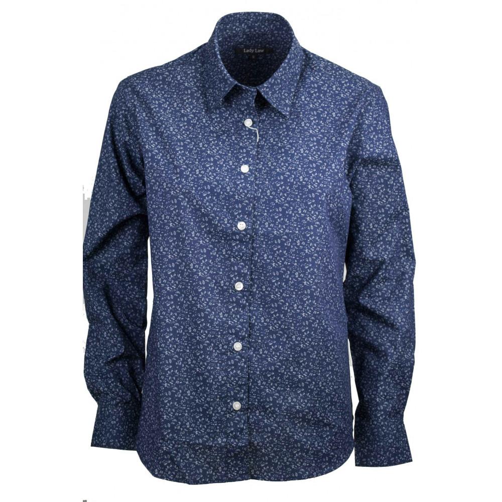 Women's Shirt Classic Flowers Dark Blue