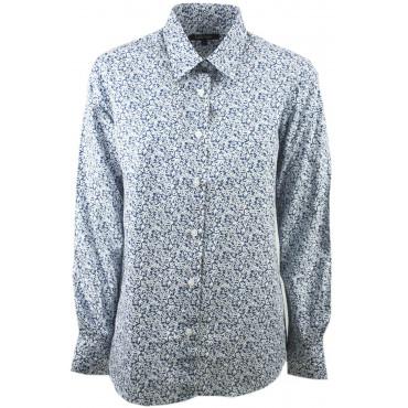 Women's Shirt Classic Flowers Blue White Flowers Cotton Flannel