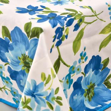 Mantel grande de satén con flores de acuarela