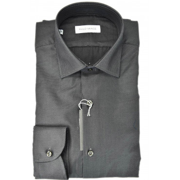 Man shirt Woven Elegant Dark without a breast Pocket - Philo Vance - Bagnolo