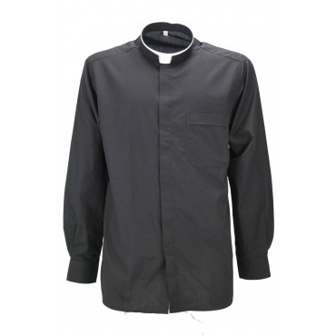 Man shirt Priest Black Cotton Poplin with chest Pocket