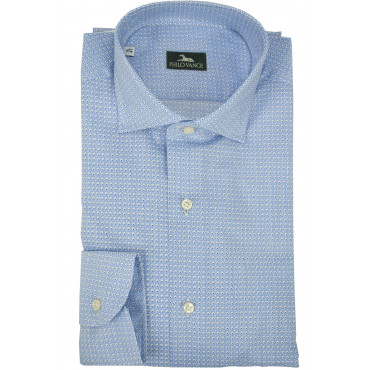 Man Shirt Casual Slim Fit Blue Poplin - Philo Vance - Nepal