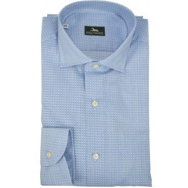T-Shirt Mann Casual Slim Fit-Blaue Popeline - Philo Vance - Nepal