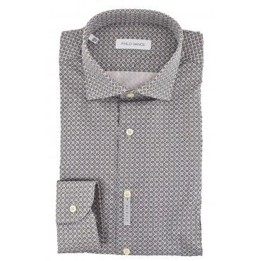 Camicia Uomo Slimfit collo Francese Fantasia Geometrica Blu Beige Bianco - Montese