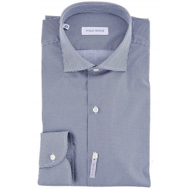 Camicia Uomo Slimfit collo Francese Pied de Poule Bianco Blu - Cefalù