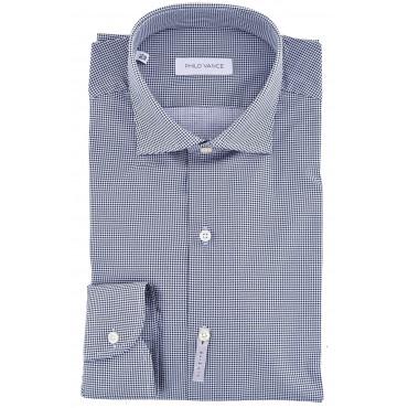 El hombre de la camisa de Slimfitt cuello francés Pied-de-Poule Blanco Azul - Cefalù