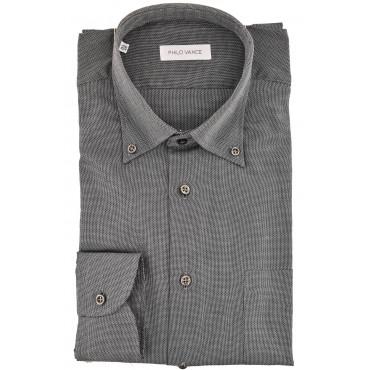 El hombre de camisa Clásico gris oscuro Tejido de cuello con botones - Conero