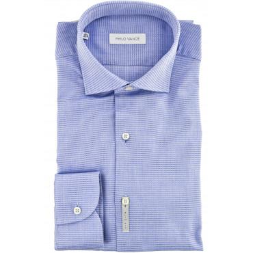 El hombre de la camisa Slim Fit spread collar Azul Tejida - Aulla
