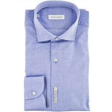 Man shirt Slim Fit spread collar Blue Woven - Aulla