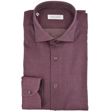 Camicia Uomo Bordeaux collo Francese Slim Fit - Philo Vance - Capri