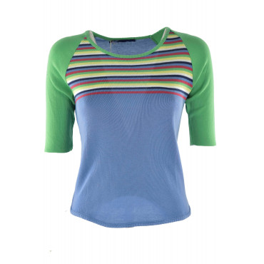 REPLAY Knitted crew neck Women's Cotton Horizontal Stripes