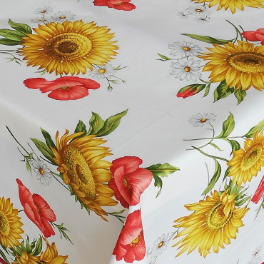 Sunflowers and Poppies Satin Tablecloth
