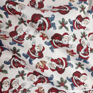 Christmas Tablecloth Gobelin Lurex Santa Claus
