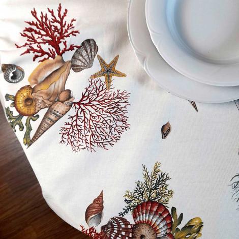 Panama Coral and Seashells Tablecloth Marina print